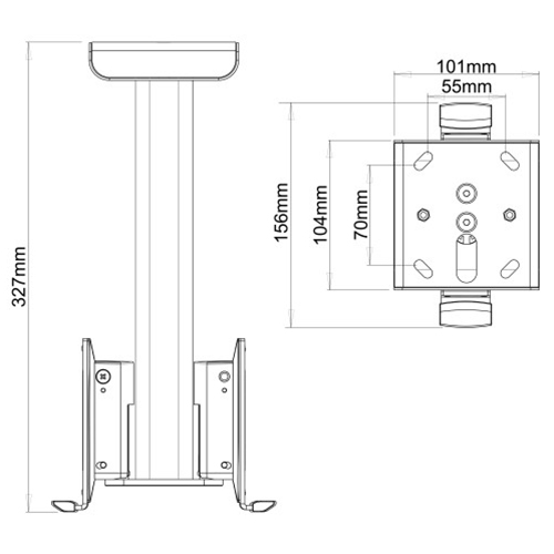 Flexson-Ceiling-Mount-for-2-Sonos-Play-1-Speakers-Diagram---Update-TV-&-Stereo